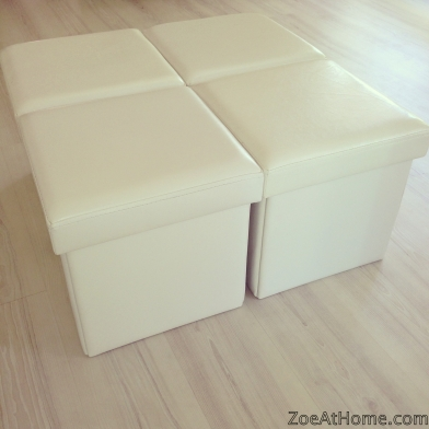 Storage ottomans as a coffee table ZoeAtHome.com