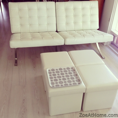 White Barcelona chairs used as a sofa ZoeAtHome.com