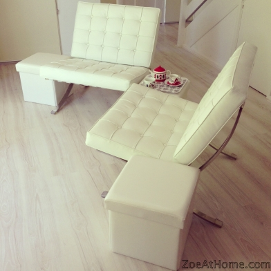 White Barcelona Chairs ZoeAtHome.com
