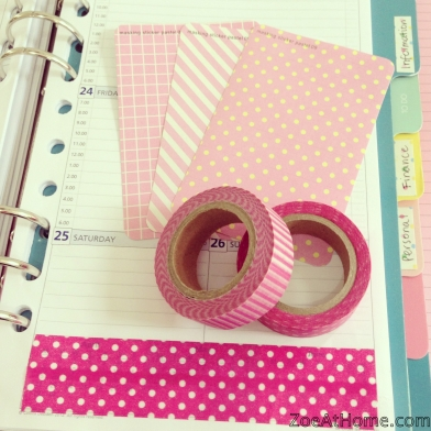 Using washi tape to personalise a Filofax A5 ZoeAtHome.com