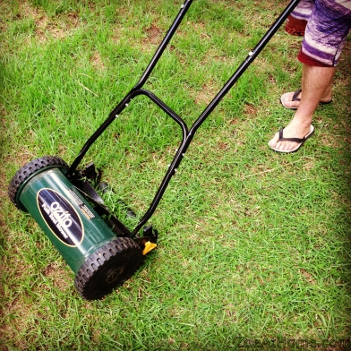 Mowing the lawn with a push mower ZoeAtHome.com