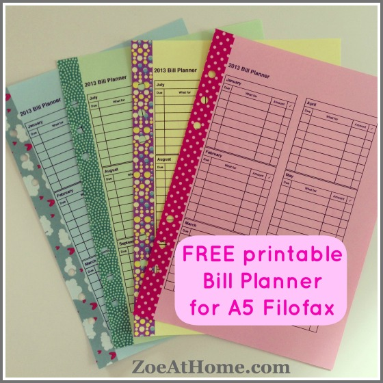 FREE Bill Planner PDF for A5 Filofax