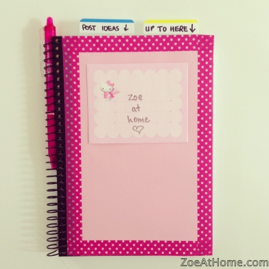 Using an A5 notebook as a blog planner ZoeAtHome.com