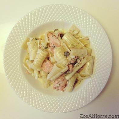 Audrey Gordon's smoked salmon pasta ZoeAtHome.com