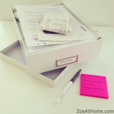 Sort out paperwork with a Next Action GTD ZoeAtHome.com
