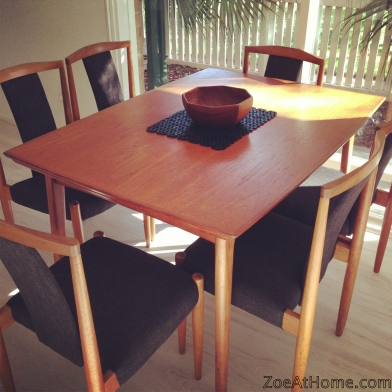 Mid-century modern teak dining table and chairs. Inner city small space living ZoeAtHome.com