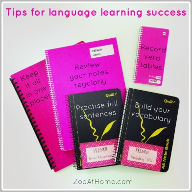 Tips for langage learning success stationery ZoeAtHome.com