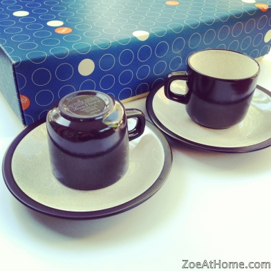 Mikasa Terra Stone E1955 cup and saucer set original box ZoeAtHome.com