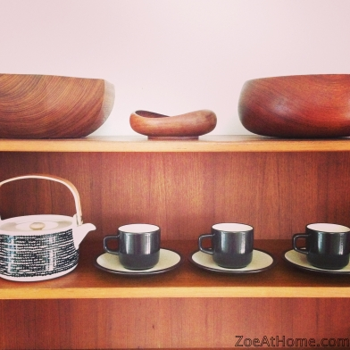 The art of display: teak bowls on mid-century modern buffet ZoeAtHome.com
