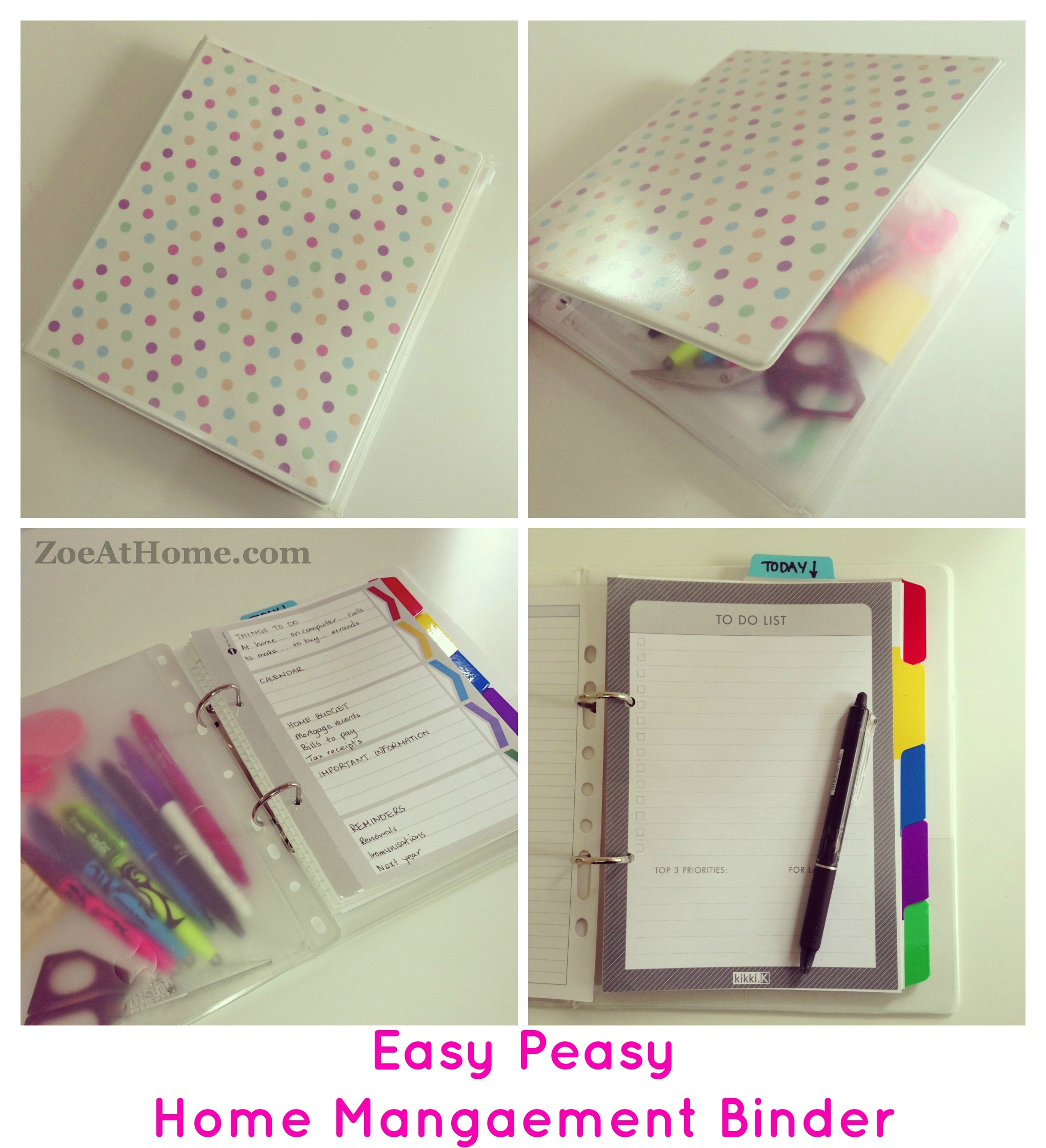 easy peasy home management binder or diy planner « zoeathome