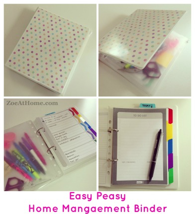 Simple way to make a Home Management Binder or DIY PlannerZoeAtHome.com