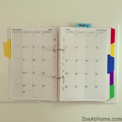 Home Management Binder Calendar section ZoeAtHome.com