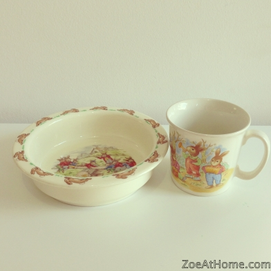 Kids can use real tableware Bunnykins antique bowl ZoeAtHome.com