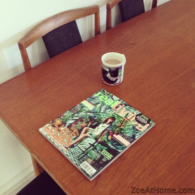 Coffee and magazine break Mid century modern teak table and chairs ZoeAtHome.com