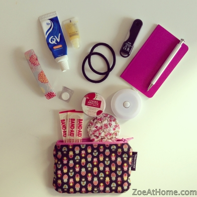 Small purse emergency kit ZoeAtHome.com