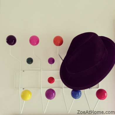 Trilby hat on Eames hang-it-all ZoeAtHome.com