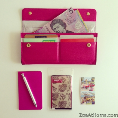 Pink wallet loyalty cards organized mini Moleskine notebook ZoeAtHome.com