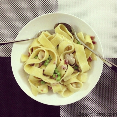 Pappardelle with cream, mushrooms, peas and pancetta. Click here for a similar recipe.