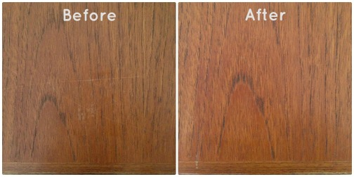 Polishing modern teak furniture Before and After ZoeAtHome.com